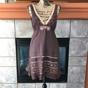 Free People Brown Linen Sundress Size 6